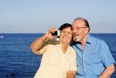 Anziani sorridenti felici Immagini Stock Libere da Diritti