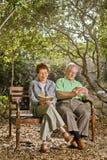 Anziani su un banco Fotografia Stock