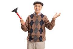 Anziano allegro con un tuffatore fotografia stock