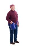 Anziano che tiene una latta di innaffiatura Immagini Stock Libere da Diritti