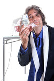 Anziano con soldi Immagini Stock Libere da Diritti
