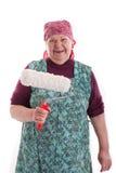 Anziano con un rullo di vernice 2 Immagini Stock