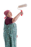 Anziano con un rullo di vernice Fotografie Stock