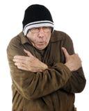 Anziano di congelamento Fotografia Stock