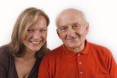Anziano e la sua figlia Fotografia Stock