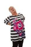Anziano femminile con il mal di schiena Fotografie Stock Libere da Diritti