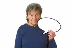 Anziano femminile con la bolla di pensiero Fotografia Stock Libera da Diritti