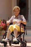 Anziano in sedia a rotelle nel paese immagini stock