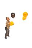 Anziehende Ballone des Jungen Lizenzfreies Stockfoto