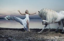 Anziehende Frau, die das Pferd zähmt Stockfoto