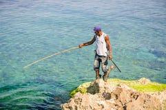 Anziehende Krake des Fischers in Havana, Kuba stockbild