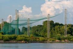 Anziehende Netze des Vogels in der ornithologischen Station Litauen Vente-Kaps stockfotos
