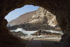 Anzota Caves at Arica. On the coast of Chile. The area was used as a settlement by the Chinchorro people and later mined for guano deposited on the cliffs stock photography