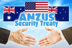 ANZUS, договор безопасностью Политический союз Австралии, Новой Зеландии и США стоковые изображения