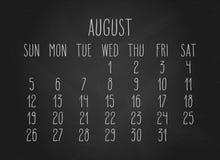 Août 2018 calendrier illustration stock