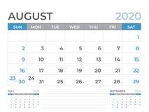 Août 2020 calibre de calendrier, taille de disposition de calendrier de bureau 8 x 6 pouces, conception de planificateur, débuts  illustration de vecteur