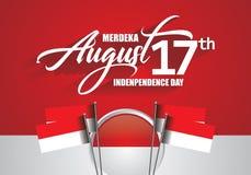 17 août Jour de la Déclaration d'Indépendance de l'Indonésie illustration de vecteur