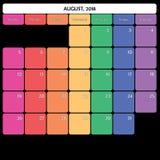 août 2018 jours de la semaine spécifiques de couleur du grand espace de note de planificateur Photo libre de droits