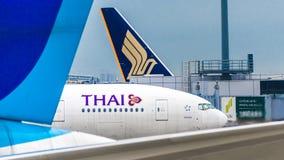 18 août 2017 : L'aéroport international de Narita, Tokyo, les voies aériennes Japon-thaïlandaises voyagent en jet au secteur de e Image stock