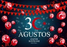 30 août, Victory Day Turkish Speak 30 Agustos, Zafer Bayrami Kutlu Olsun Illustration de vecteur Illustration Libre de Droits