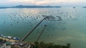 Ao Chalong pier Aerial view drone shot image in Phuket Thailand.  royalty free stock images