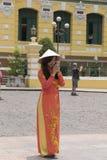 Ao Dai Vietnamese national dress Stock Photo