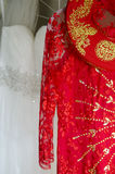 Ao Dai and white wedding dresses Royalty Free Stock Images