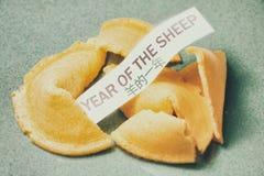 Año de la galleta de la suerte de las ovejas Foto de archivo libre de regalías