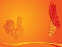 Año del ejemplo del gallo y de los petardos Fotos de archivo libres de regalías