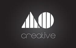 AO en nolla-bokstav Logo Design With White och svartlinjer stock illustrationer