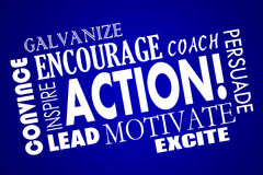 A ação incentiva motiva inspira o treinador Word da ligação Imagem de Stock