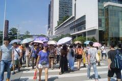 Ao lado da paisagem da construção do centro da convenção e de exposição de Shenzhen, em China Fotografia de Stock