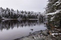 Ao lado do lago na primeira vez da neve Fotografia de Stock Royalty Free