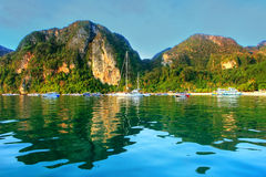Ao Loh Dalum Bay surrounded by limestone formations on Phi Phi D Stock Photos