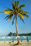 Ao Loh Dalum beach with sun umbrellas on Phi Phi Don Island, Kra Royalty Free Stock Images
