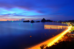 Ao Manao海湾看法在Prachuap Khiri Khan,泰国 库存照片
