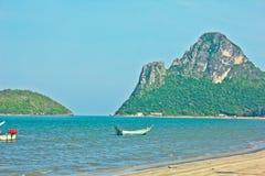 Ao manao beach. A beach is beautifui,   a mountain is beautiful, a sea green water, the sky is blue, green tree Stock Photo