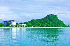 Ao manao. A temple is in on top seashore mountain, green sea, dlue sky Stock Images