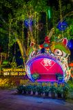 AO NANG,泰国- 2018年2月09日:五颜六色的结构室外看法与庆祝汉语的光和装饰品的 库存图片