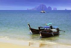 Ao Nang beach with boat in Krabi Royalty Free Stock Photos