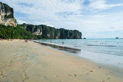 Ao Nang Beach with Lime Stone Formations, Krabi, Thailand Royalty Free Stock Photo