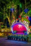 AO NANG TAJLANDIA, LUTY, - 09, 2018: Plenerowy widok kolorowa struktura z światłami i ornamentami świętuje chińczyka Obrazy Stock