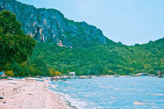 Ao noi beach. A beach is beautifui,   a mountain is beautiful, a sea green water, the sky is blue, green tree Royalty Free Stock Images