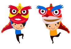 Año Nuevo chino feliz Lion Dance Imágenes de archivo libres de regalías