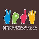Año Nuevo creativo, concepto 2014 con el finger Imagen de archivo libre de regalías