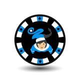 Año Nuevo de la Navidad del casino del póker del microprocesador En el medio de la muchacha Santa Claus un azul el borde el ejemp Fotos de archivo libres de regalías