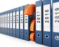 Año Nuevo del signo de interrogación de las carpetas de la oficina Fotos de archivo