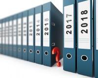 Año Nuevo del signo de interrogación de las carpetas de la oficina Imágenes de archivo libres de regalías