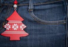 Año Nuevo, fondo de la Navidad Textura de los pantalones vaqueros Imagen de archivo