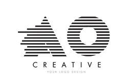 AO O zebry listu loga projekt z Czarny I Biały lampasami Zdjęcie Stock